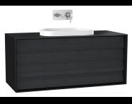 61470 - Frame Lavabo Dolabı, 120 cm, çift çekmeceli, tezgahüstü Tv-shape lavabolu, Mat Siyah