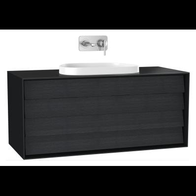 Frame Lavabo Dolabı, 120 cm, çift çekmeceli, tezgahüstü Tv-shape lavabolu, Mat Siyah