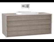 61471 - Frame Lavabo Dolabı, 120 cm, çift çekmeceli, tezgahüstü Tv-shape lavabolu, Mat Bej