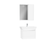 61526 - Step Flatpack Set, 65 cm, with drawer, (Washbasin Unit, Mirror with Side Cabinet), White High Gloss