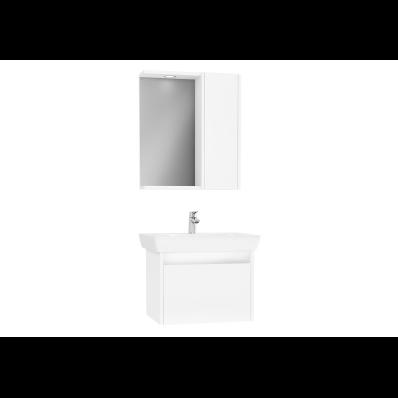 Step Demonte Set, 65 cm, çekmeceli, (Lavabo Dolabı, Yandan Dolaplı Ayna), Parlak Beyaz