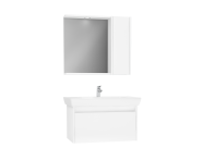 61528 - Step Flatpack Set, 85 cm, with drawer, (Washbasin Unit, Mirror with Side Cabinet), White High Gloss