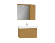 61529 - Step Flatpack Set, 85 cm, with drawer, (Washbasin Unit, Mirror with Side Cabinet), Teak