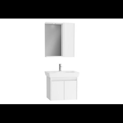 Step Demonte Set, 65 cm, kapaklı, (Lavabo Dolabı, Yandan Dolaplı Ayna), Parlak Beyaz