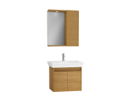 61531 - Step Flatpack Set, 65 cm, with doors, (Washbasin Unit, Mirror with Side Cabinet), Teak