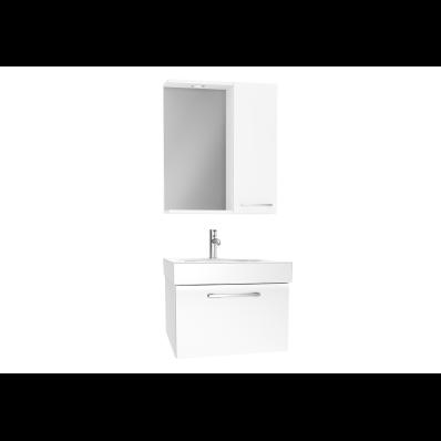 Optima Demonte Set, 60 cm, çekmeceli, (Lavabo Dolabı, Yandan Dolaplı Ayna), Parlak Beyaz