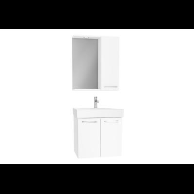Optima Demonte Set, 60 cm, kapaklı, (Lavabo Dolabı, Yandan Dolaplı Ayna), Parlak Beyaz