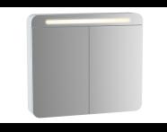 61672 - Sento Aydınlatmalı Dolaplı Ayna, 60 cm, Mat Beyaz, sol