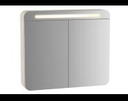 61673 - Sento Aydınlatmalı Dolaplı Ayna, 60 cm, Mat Krem, sol