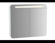 61675 - Sento Aydınlatmalı Dolaplı Ayna, 60 cm, Mat Beyaz, sağ