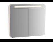61676 - Sento Aydınlatmalı Dolaplı Ayna, 60 cm, Mat Krem, sağ