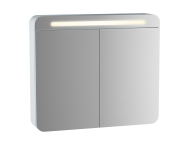 61678 - Sento Aydınlatmalı Dolaplı Ayna, 80 cm, Mat Beyaz