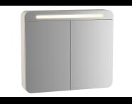 61679 - Sento Aydınlatmalı Dolaplı Ayna, 80 cm, Mat Krem