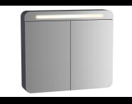 61680 - Sento Aydınlatmalı Dolaplı Ayna, 80 cm, Mat Antrasit