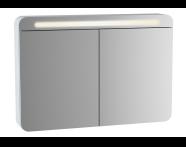 61681 - Sento Aydınlatmalı Dolaplı Ayna, 100 cm, Mat Beyaz