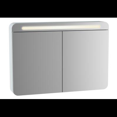 Sento Aydınlatmalı Dolaplı Ayna, 100 cm, Mat Beyaz