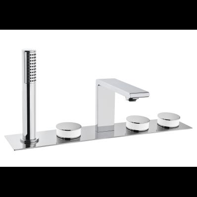 Memoria Deck-Mounted Basin Mixer, Round Handles,  5 Tap Hole
