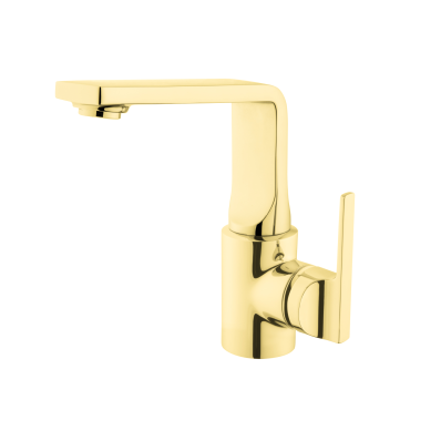 Suıt L Basin Mixer, (With Pop-Up), Gold