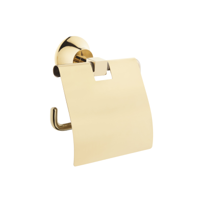 Juno Toilet Roll Holder (with Cover), Gold