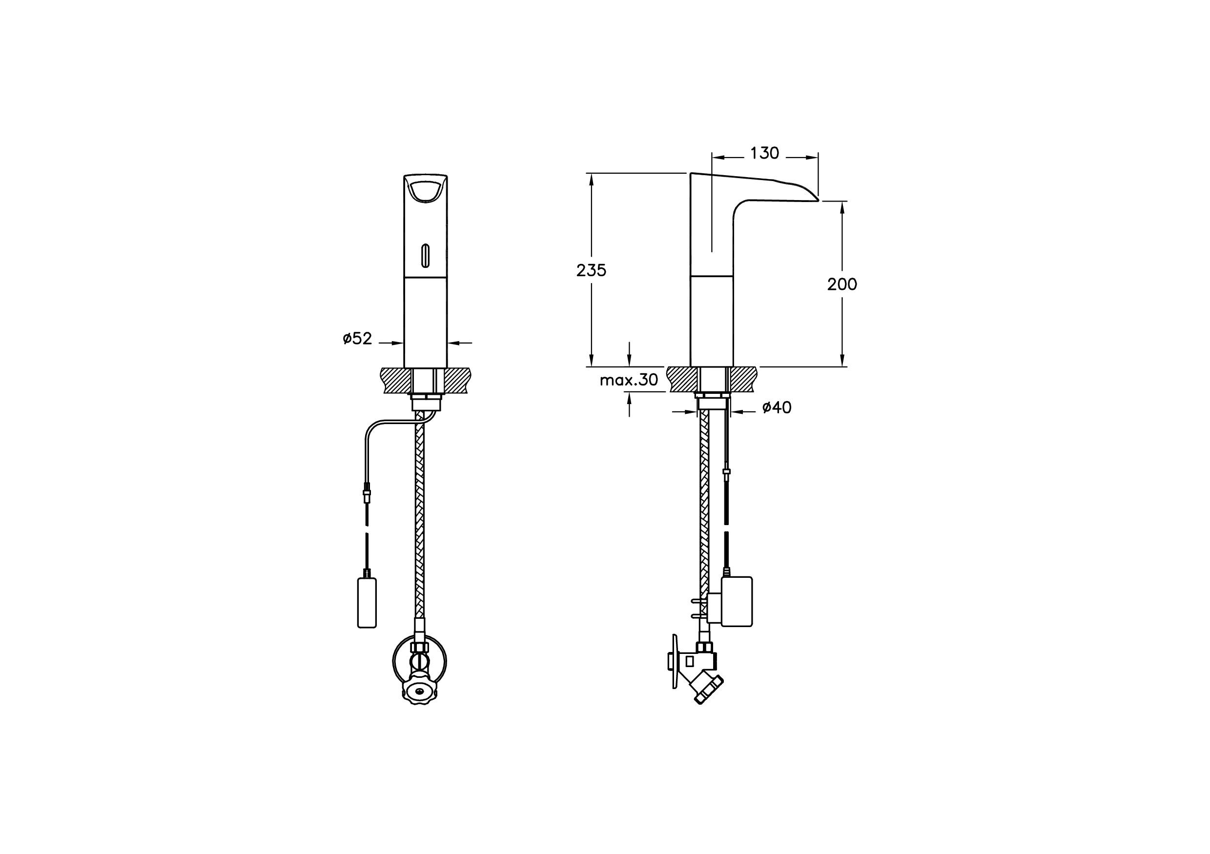 Aquatech Fotoselli Lavabo Bataryası Şelale Elektrikli