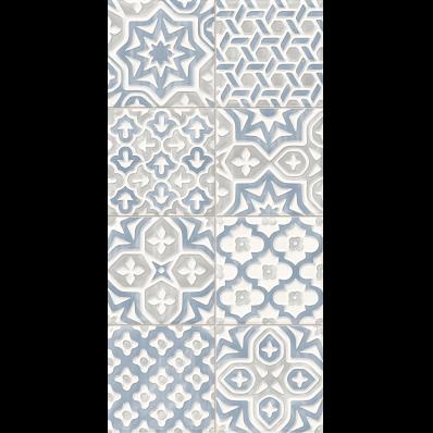 30X60 Craftmix Scored  Patchwork Decor Blue Glossy