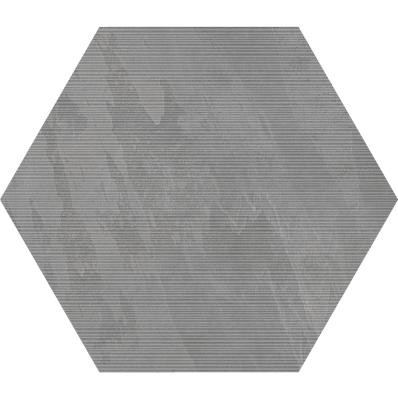 60X60 TECH-SLATE HEXAGON D.GREY RIGATO R