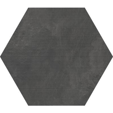 60X60 Tech-Slate Altıgen Rigato Dekor Antrasit