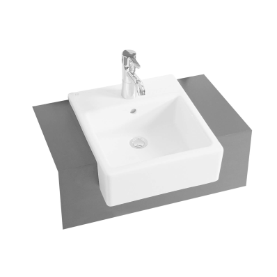 Nuovella Recessed Lavabo, 40 cm with Middle Tap Hole, with Side Holes
