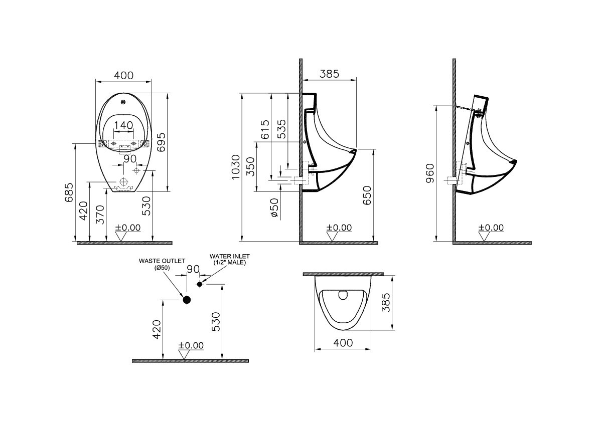 Urinal Front Elevation : Vitra global