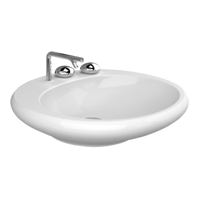 Istanbul Countertop Washbasin, Flat, 60 cm, White
