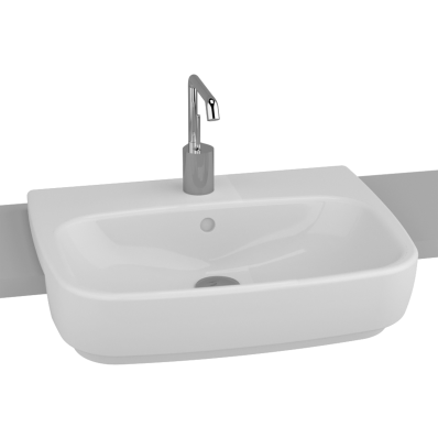 Shift Recessed Basin, 55 cm, with Middle Tap Hole, with Side Holes