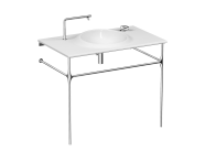 4519B403H6140 - İstanbul Vanity basin, 100 cm, no tap hole, no overflow hole, white, with metallic leg