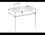 4519B403H6140 - İstanbul Vanity basin, 100 cm, no tap hole, no overflow hole, white, with metallic leg