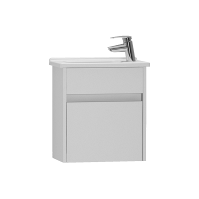 S50 + Narrow Washbasin Unit 45 cm, White High Gloss, Left