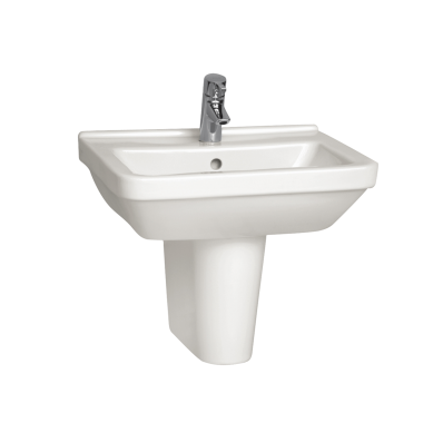 S50 Washbasin, 55 cm, with Middle Tap Hole, with Side Holes