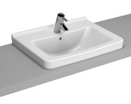 5310B003-0861 - S50 WashBasin, 60cm with Middle Tap Hole, with Side Holes, Countertop Usage
