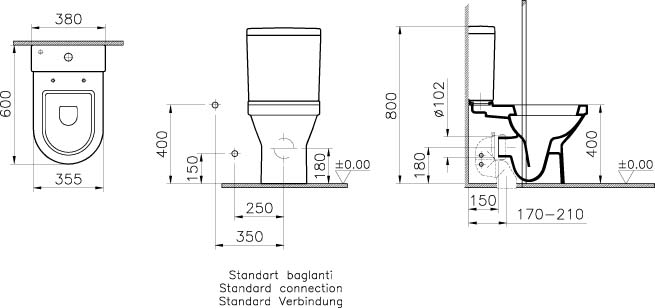 S50 Compact Close Coupled Wc Pan Fully Back To Wall