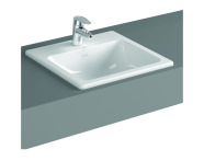 5464B003H0001 - S20 Countertop Basin, 50 cm, with Middle Tap Hole, with Side Holes