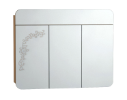 55174 - Gala Classic Illuminated Mirror with Pattern Cabinet 100 cm Beige High Gloss