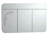 55175 - Gala Classic Illuminated Mirror with Pattern Cabinet 120 cm White High Gloss