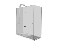 55930028000 - Kimera Compact Shower Unit 150x75 cm, U Wall, with Door, Short Corner Mixer
