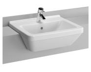 5598B003-0001 - S50 Recessed WashBasin, 55cm with Middle Tap Hole, with Side Holes