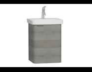 56115 - Nest Single Doorı Washbasin Unit 45 cm, Grey Natural Oak Right