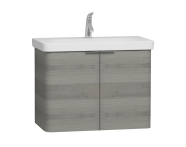 56121 - Nest 2 Doors Washbasin Unit 80 cm, Grey Natural Oak