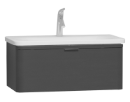 56137 - Nest Trendy 1 Drawer Washbasin Unit 80 cm, Anthracite High Gloss