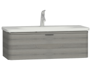 56142 - Nest Trendy 1 Drawer Washbasin Unit 100 cm Grey Natural Oak