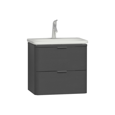Nest Trendy 2 Drawer Washbasin Unit 60 cm Anthracite High Gloss