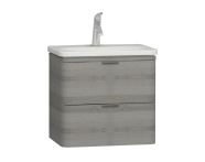 56145 - Nest Trendy 2 Drawer Washbasin Unit 60 cm Grey Natural Oak