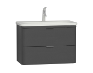 56146 - Nest Trendy 2 Drawer Washbasin Unit 80 cm, Anthracite High Gloss