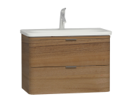56147 - Nest Trendy 2 Drawer Washbasin Unit 80 cm, Waved Natural Wood